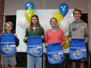 Awards for 100 participation for Guy (little aths), and Anna, Emma and D'Artagnan (senior).