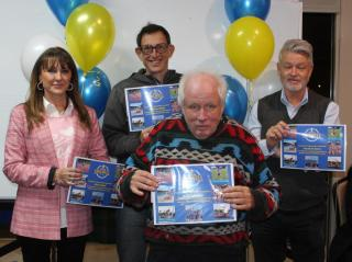 Certificates for officials-volunteers to Alison Reed, Andrew Webb, Raymond Barr and Jonathan Burns.