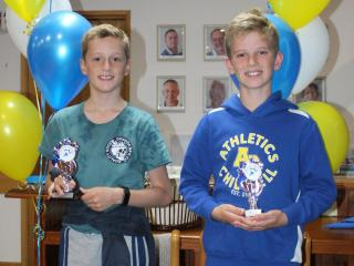 U10 boys winner Finn and runner-up Oliver.