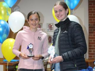 U16 girls winner Claudia and runner-up Ella.