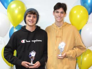 U16 men winner Luke and runner-up Seth.