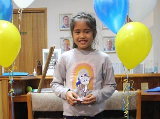 U8 girls runner-up Asha.