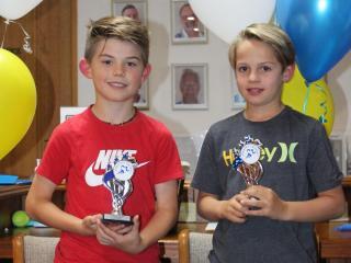 U9 boys winner Mattias and runner-up Ollie.
