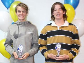 Under 18 men winner Owen and runner-up D'Artagnan.