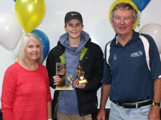 Winner of the McDonald Family Award, Alexander, with Mary and Geoff McDonald.