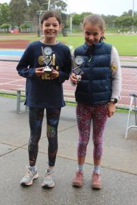 Under 10 girls - winner Elle Thornton, runner-up Sofia Paul
