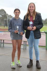 Under 12 girls - winner Karla Boras, runner-up Millicent Agar