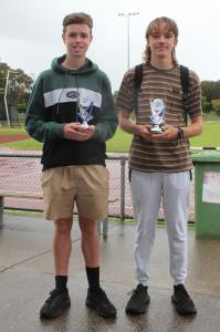 Under 15 boys little aths -  runner-up Archer Jones, winner Ryan Costin